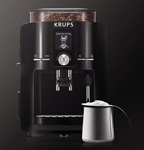 KRUPS EA8250 Espresseria Fully Automatic Espresso Machine Coffee Maker with Built-in Conical Burr Grinder, Black