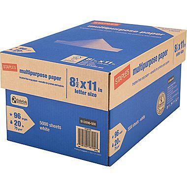 "$14.99 Staples Multipurpose Paper, 8 1/2"" x 11"", Case"