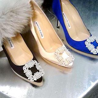$150 GIFT CARD with Manolo Blahnik Hangisi Pearly-Buckle Satin 105mm Pump @ Neiman Marcus