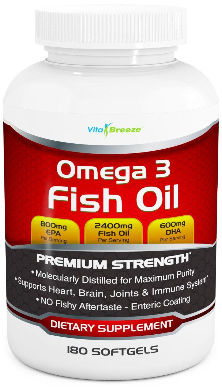 Omega 3 Fish Oil Supplement (180 Softgels) - 2400mg Triple Strength Fish Oil