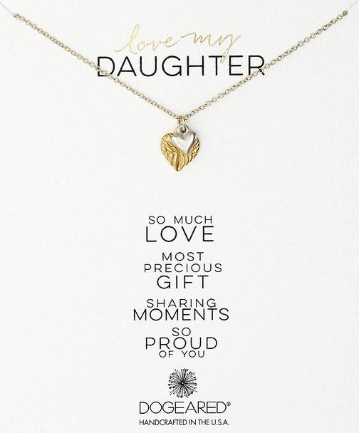 Dogeared Love My Daughter Feather Heart with Sterling Silver Cupid Heart Gold Dipped Chain Necklace @ Amazon
