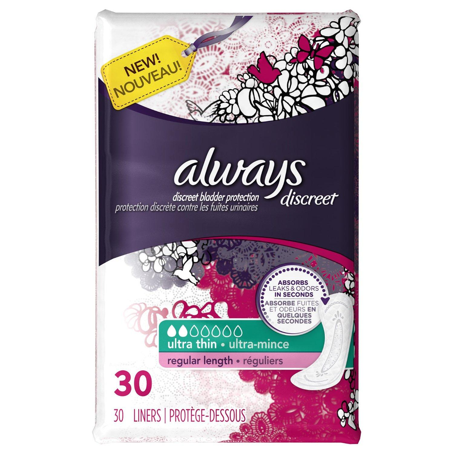 $2.74 Always Discreet, Incontinence Liners, Ultra Thin, Regular Length, 30 Count