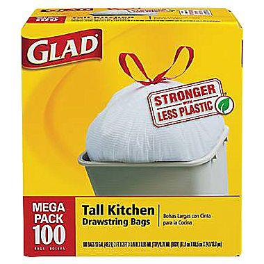 $9.99 Glad Tall Kitchen Drawstring Trash Bags 13 Gallon, 100 Bags