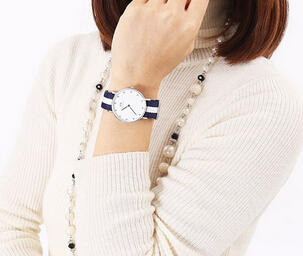 Daniel Wellington Classic Glasgow Blue and White Canvas Strap Ladies Watch 0928DW