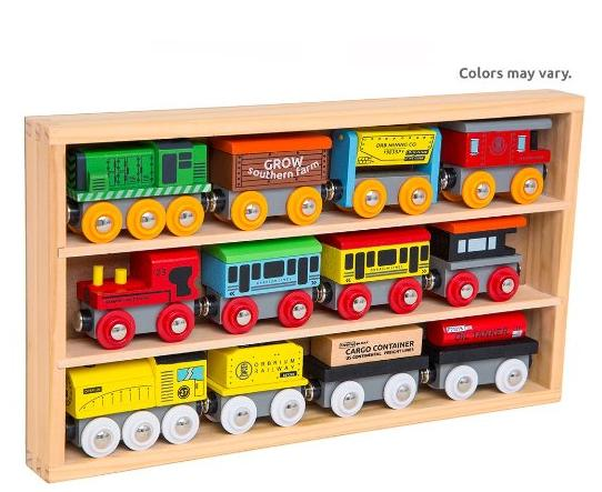 Orbrium Toys 12 Pcs Wooden Engines & Train Cars Collection fits Thomas, Brio, Chuggington @ Amazon