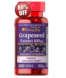 5 for $14.38 Puritan's Pride Grapeseed Extract 100 mg  100 Capsules