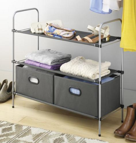 $17 Whitmor Closet Organizer Collection 3 Tier Shelves with 2 Collapsible Drawers