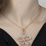 Concave Flower Pendant with Swarovski Crystals