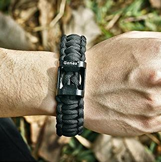 Gonex Premium Paracord Bracelet Excellent 550 Cord Parachute bracelet with Fire Starter and Eye Knife