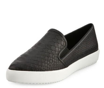 J Slides  Doobie Snake-Embossed Slip-On Sneaker, Black @ LastCall by Neiman Marcus