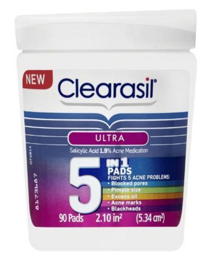 Clearasil Ultra 5 in 1 Acne Face Wash Pads, 90 Count @ Amazon