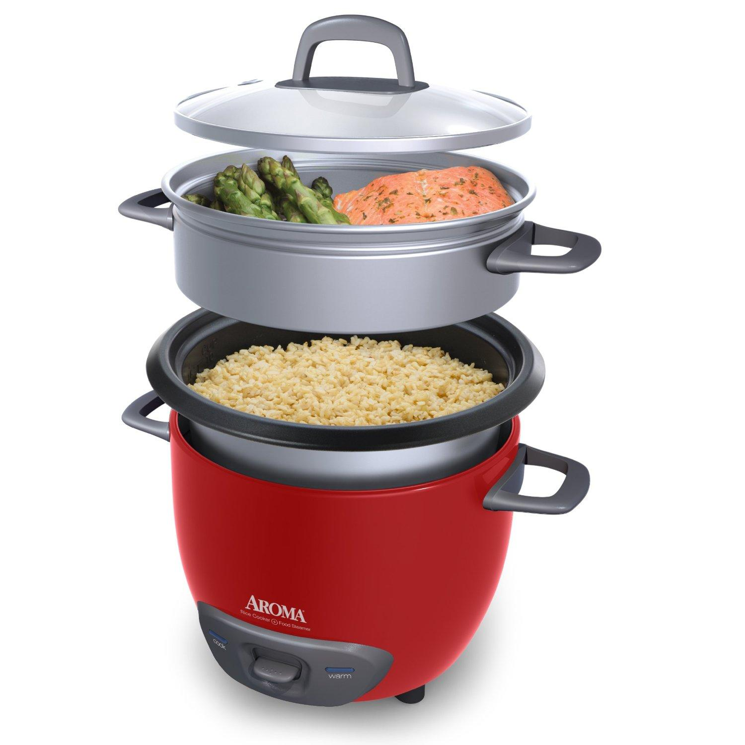 $16.99 Aroma 6-Cup (Cooked) (3-Cup UNCOOKED) Pot Style Rice Cooker and Food Steamer