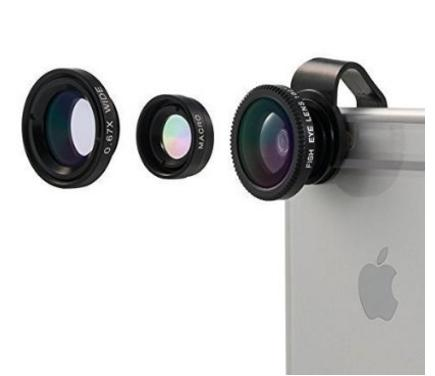 Camera Lens - Universal Detachable 180°Fish Eye Lens Wide Angle Lens Micro Lens 3 in 1