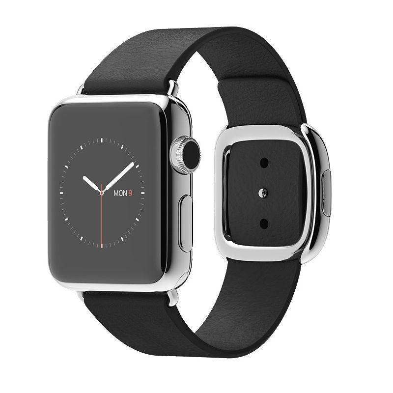 Apple Watch 38mm Stainless Steel Case Black Modern Buckle