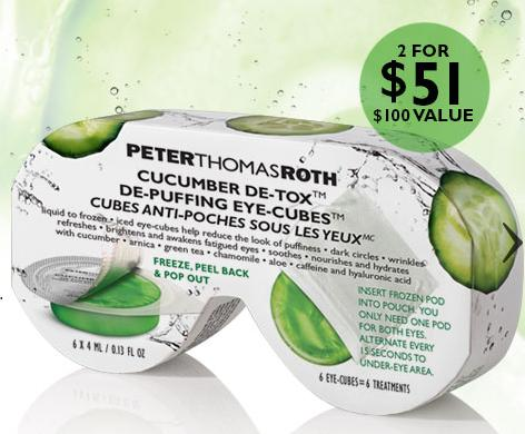 Buy 1 Get 1 For $1 Peter Thomas Roth Cucumber De-Tox De-Puffing Eye-Cubes @ Peter Thomas Roth