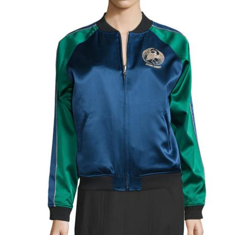 Opening Ceremony Bonsai-Embroidered Silk Reversible Varsity Jacket, Black