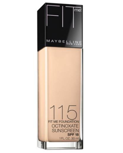 Maybelline New York Fit Me! Foundation, 115 Ivory, SPF 18, 1.0 Fluid Ounce @ Amazon