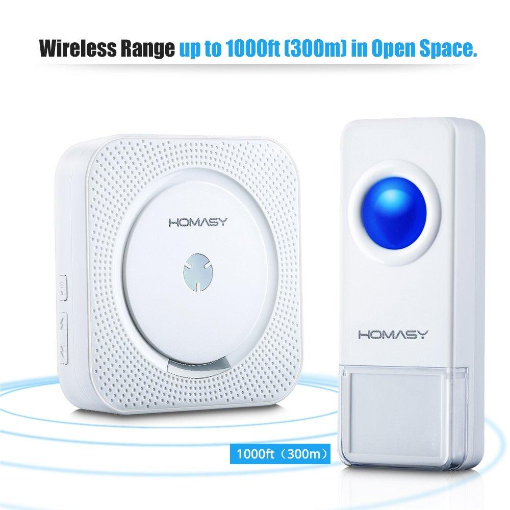 Homasy Wireless Doorbell Operating at over 1000-feet Range