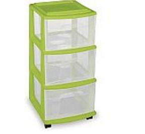 Homz 3-Drawer Medium Cart, Set of 2, Green