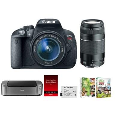 $499 Canon EOS Rebel T5i DSLR Camera with 18-55mm & EF 75-300mm F/4-5.6 III AF Lens Special Promotional Bundle