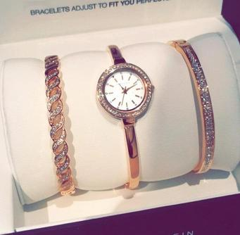 $83.99 Anne Klein Women's AK/2046RGST Swarovski Crystal Accented Rose Gold-Tone Bangle Watch and Bracelet Set