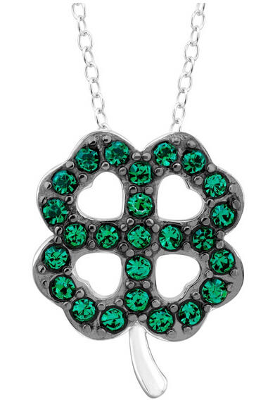 Green Crystal Clover Pendant