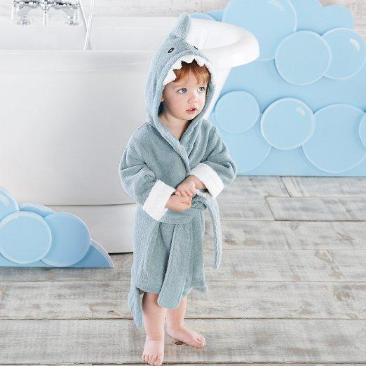 Baby Aspen Let the Fun Begin Blue Shark Robe, Blue, 12-18 Months