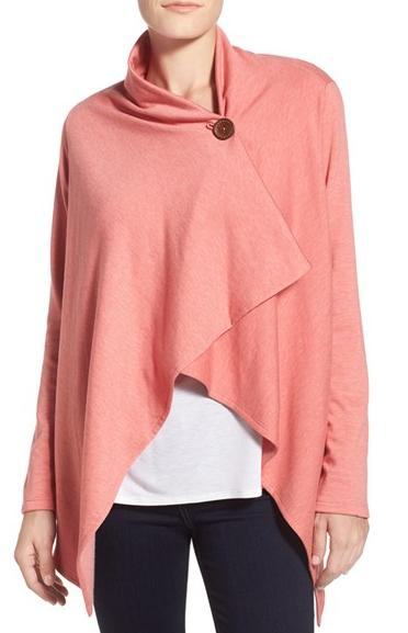 $19.9 Bobeau One-Button Fleece Wrap Cardigan @ Nordstrom