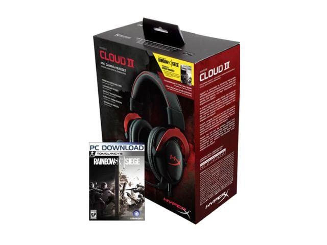 HyperX Cloud II Gaming Headset with 7.1 Virtual Surround Sound+Rainbow Six Siege PCgame+ HyperX Skyn Mouse Pad