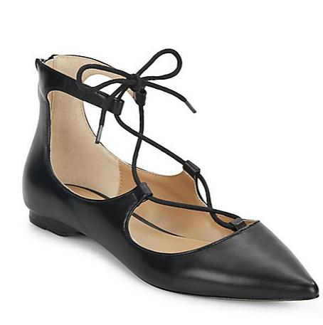 Estyn Lace-Up Leather Point Toe Flats