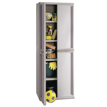 Sterilite 01428501 4-Shelf Utility Cabinet with Putty Handles, Platinum