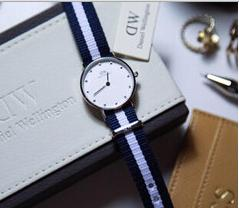 $59.99 Daniel Wellington Classy Glasgow White Dial Blue and White Stripe Nylon NATO Ladies Watch 0908DW