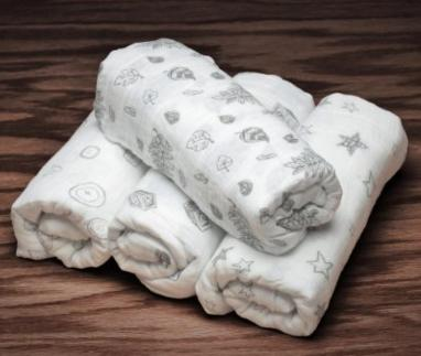4-in-1 Cotton Muslin Receiving Blankets (4 Pack) @ Amazon