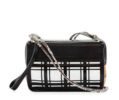 Proenza Schouler PS Z Windowpane Plaid Crossbody Bag, Black/Orange @ Neiman Marcus