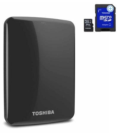 Toshiba 1tb usb 3.0 portable external hard drive with 16GB USB & 16GB Micro SD