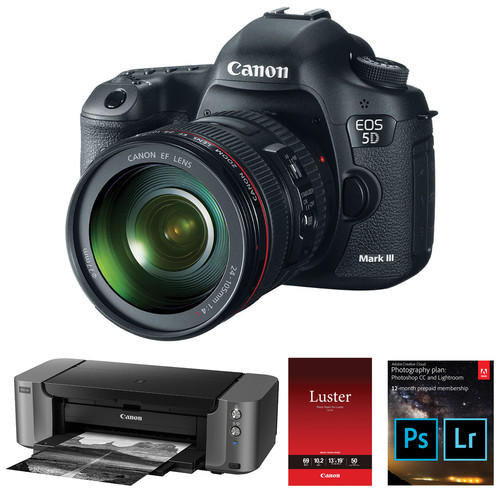 5D Mark III Camera + 24-105mm Lens + PIXMA PRO-10 Printer + Adobe Photography