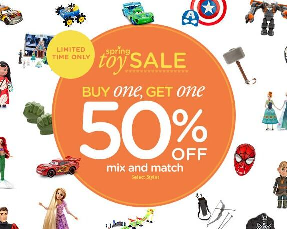 Buy 1 Get 1 50% Off Toys Sale @ disneystore