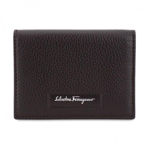 FERRAGAMO Leather Card Case - Fondente@ JomaShop.com