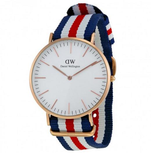 Daniel Wellington Classic Canterbury Eggshell White Dial Striped Nylon Men's Watch