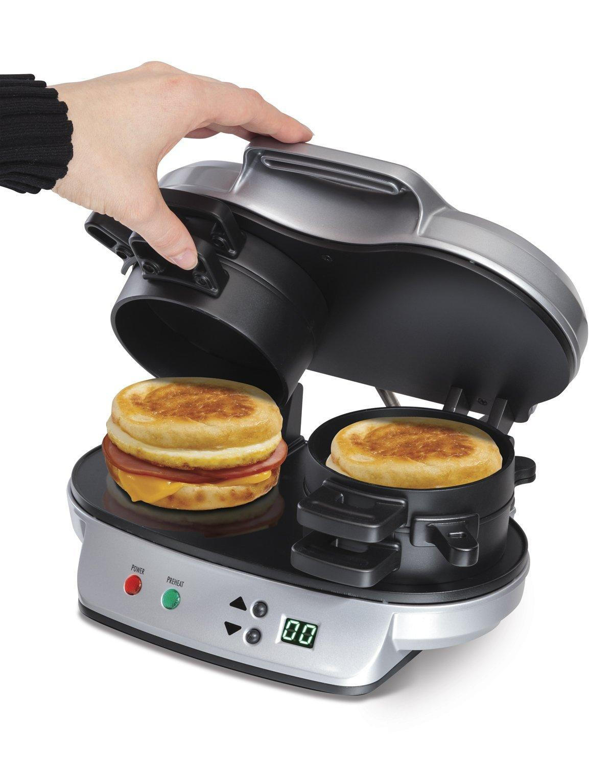Hamilton Beach 25490 Dual Breakfast Sandwich Maker Kitchen Countertop Press