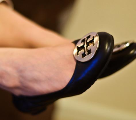 $50 Off $200 with Tory Burch Reva Leather Ballerina Flat Purchase @ Neiman Marcus