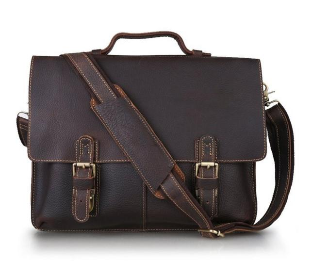 $87.99 Kattee Twin Buckle Genuine Leather Messenger Bag