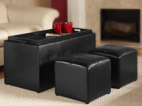 Convenience Concepts Designs4Comfort Sheridan Storage Bench with 2 Side Ottomans, Black @ Amazon