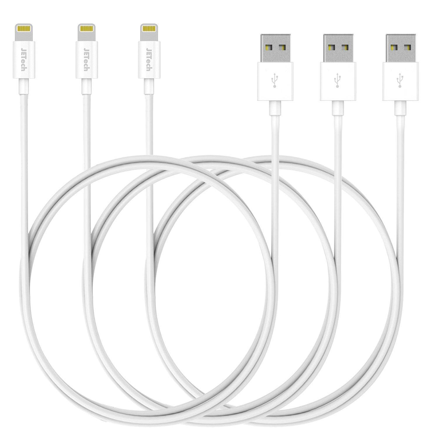 $7.99 JETech® 3-Pack 3ft APPLE CERTIFIED USB Sync and Charging Lightning Cable