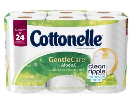 Cottonelle Gentle Care Toilet Paper with Aloe and E, Double Roll, 12 Count (Pack of 4) @ Amazon