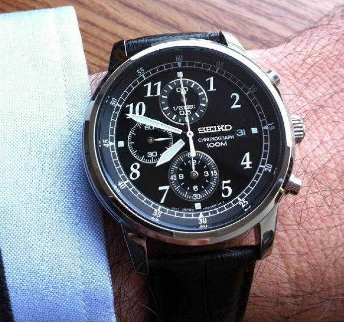 Seiko Chronograph Black Dial Black Leather Men's Watch SNDC33