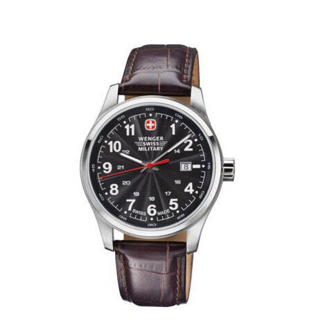 Wenger Swiss Military Alpine Terragraph Black Dial Brown Leather Men's Watch 79303C