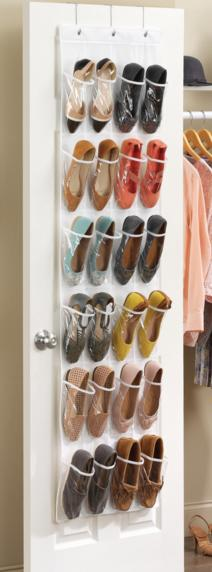 Honey-Can-Do SFT-01242 Over The Door Shoe Organizer, White, 24-Pocket @ Amazon