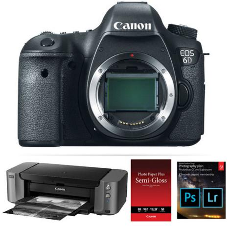 Canon EOS 6D DSLR Digital Camera Body + PIXMA PRO-10 Printer + Adobe CC Photo (1-yr)