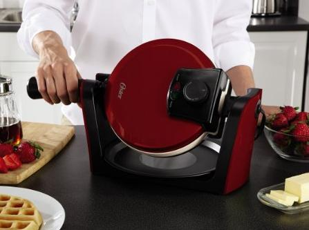 Oster CKSTWFBF10MR-ECO DuraCeramic Flip Waffle Maker, Candy Apple Red